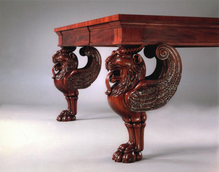 Four Massive Mahogany Tables With Carved Lion S Head Legs