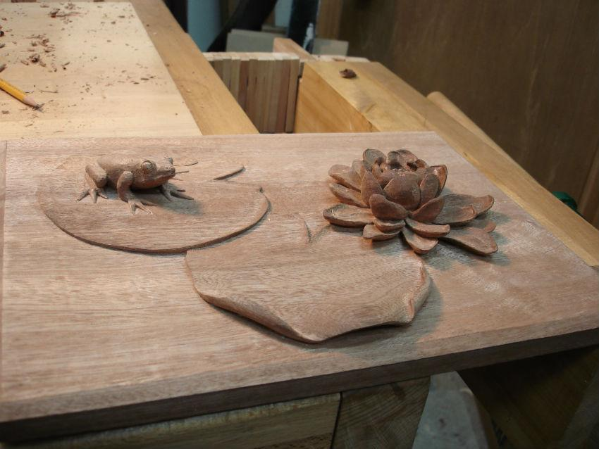 Carved Wood Frog And Lily Pad Student Work
