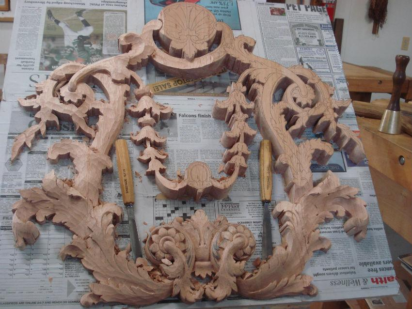 Hand carved wood appliqué student wood carving